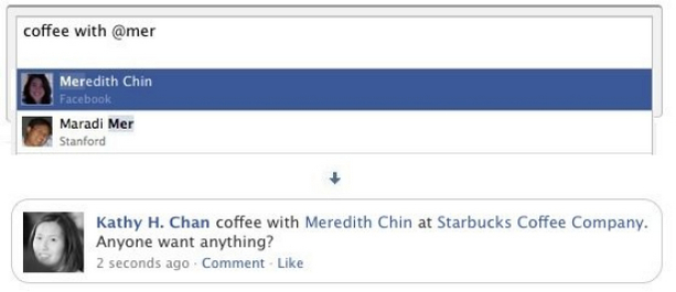 Facebook adds tags to status