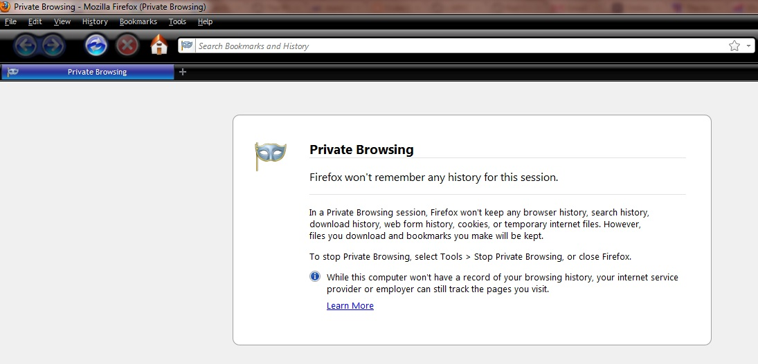 Firefox private browsing mode