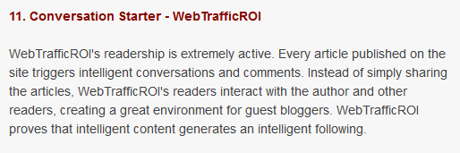 Most Favoured Award - WebTrafficROI