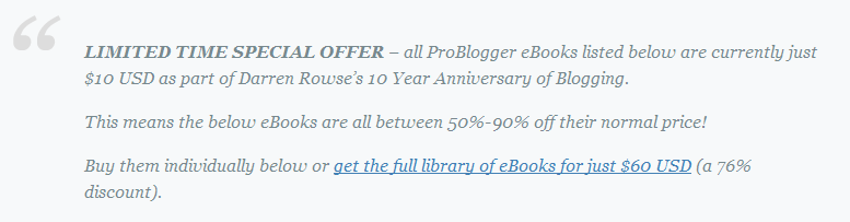 Problogger Offer $10