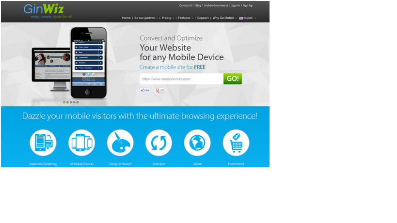 GinWiz - Convert your site to mobile device